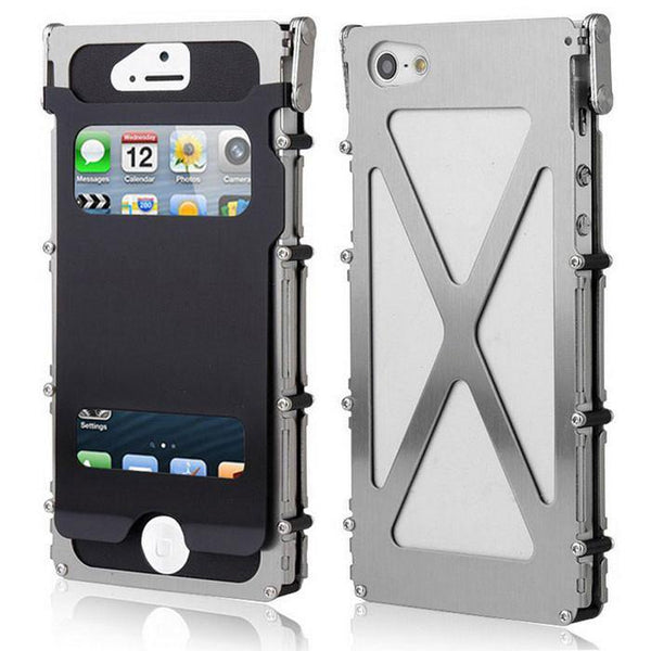 Armor King Metal Gear View Window Luxury Shockproof Stainless Steel 360° Flip Case Cover