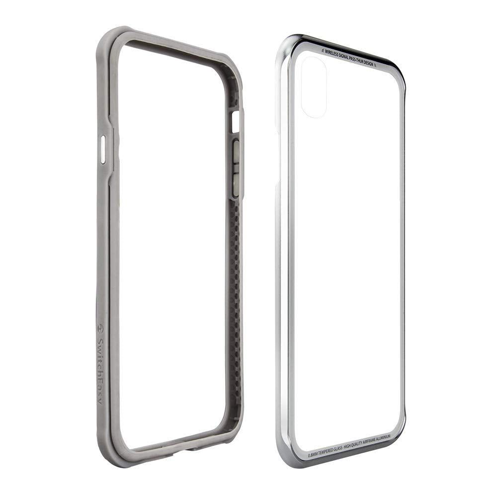 SwitchEasy iGlass TPU Frame Metal Edge Tempered Glass Back Cover Case