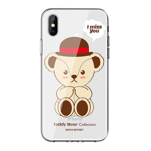 Teddy Bear Soft TPU Frame Hard PET Back Cover Case for Apple iPhone