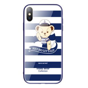 Teddy Bear Air Cushion Shockproof Tempered Glass Back Case Cover for Apple iPhone