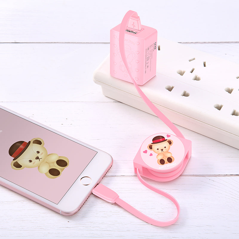Teddy Bear Retractable Charging Data Sync Apple Lightning / Type-C Cable