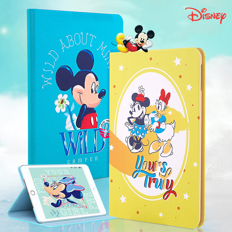 UKA Disney Mickey & Friends Auto Sleep Folio Stand Silk Leather Case Cover