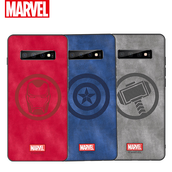 UKA Marvel Avengers TPU Frame Fabric Imprint Leather Back Case Cover