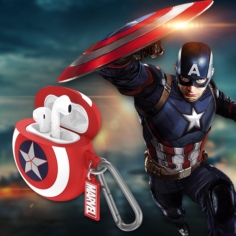 UKA Captain America's Shield Apple AirPods 2&1 Silicone Case Cover with Carabiner Clip