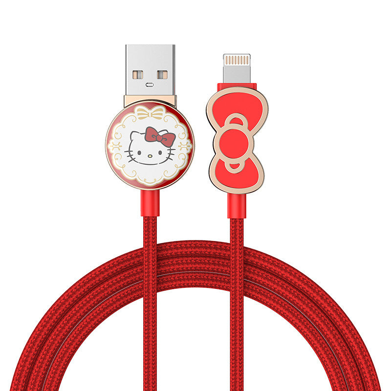 UKA Hello Kitty  3D Zinc Alloy Connector Hybrid Electroplating Apple Lightning / Type-C USB Cable