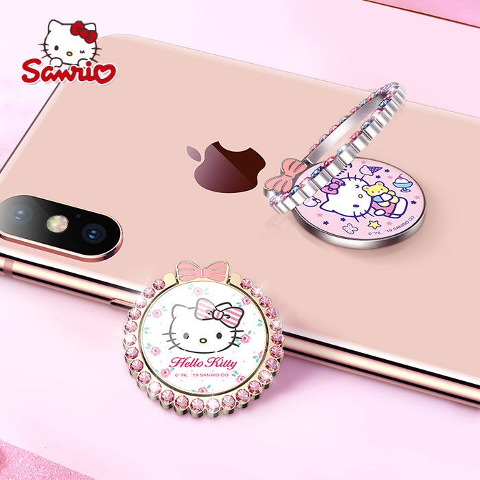 UKA Hello Kitty Wretch Crystal Diamonds 360° Rotating Anti-drop Finger Ring Grip Phone Holder