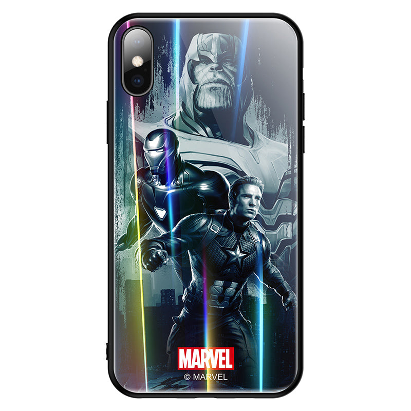UKA Marvel Laser Aurora Shockproof Tempered Glass Back Case Cover for Apple iPhone