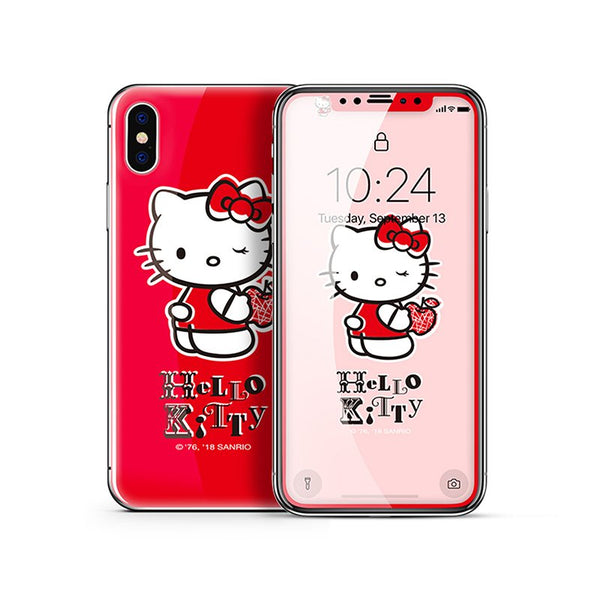X-Doria Little Twin Stars & My Melody & Hello Kitty Tempered Glass Screen Protector & Back Cover Film for Apple iPhone X