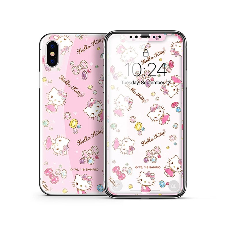 X-Doria Little Twin Stars & My Melody & Hello Kitty Tempered Glass Screen Protector & Back Cover Film for Apple iPhone XS/X