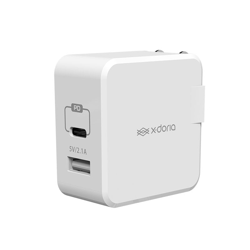 X-Doria Lighting Series 2 Port PD 18W Quick Charge Travel Charger with 3A Type-C Cable