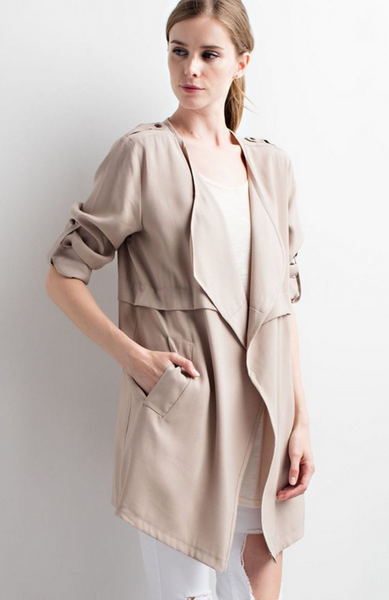 The Sharon Trench Coat in Taupe