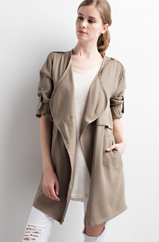 The Sharon Trench Coat in Olive
