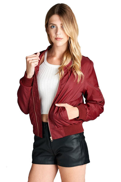 Michelle Bomber Jacket in Wine