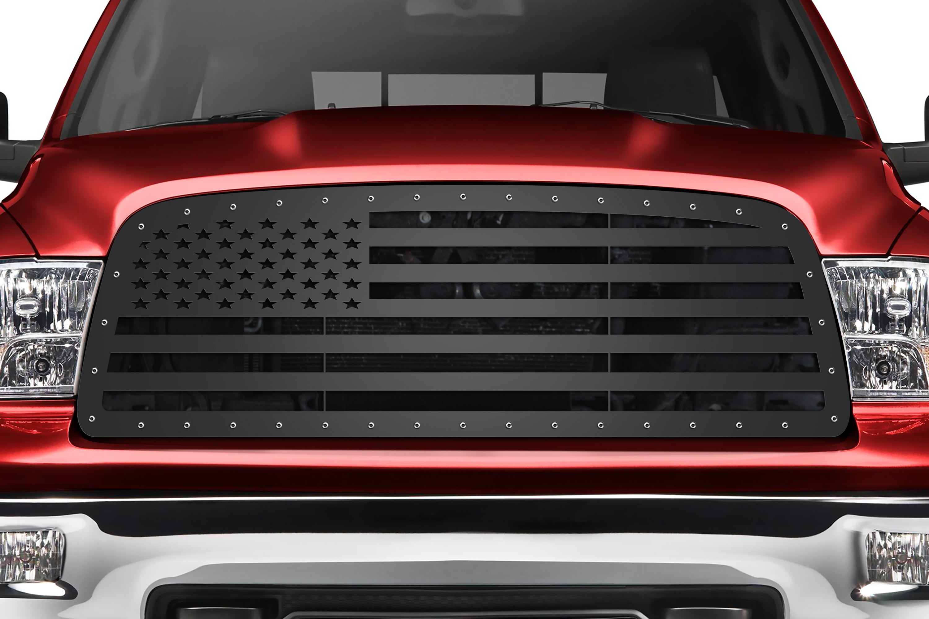 Steel Grille for Dodge Ram 1500 (2009-2012) and Ram 2500/3500 (2013-2018) - AMERICAN FLAG (Straight Across)