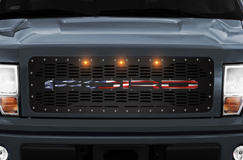 1 Piece Steel Grille for Ford F150 2009-2014 - USA Flag UNDERLAY OVAL Background 3 LED AMBER LIGHTS
