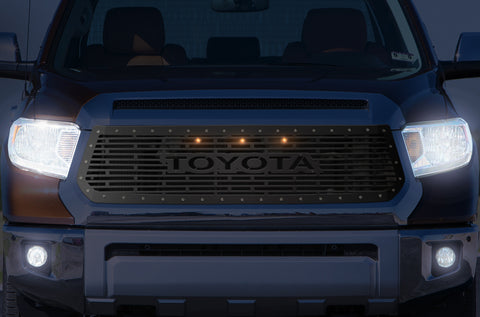 1 Piece Steel Grille for Toyota Tundra 2014-2017 - TOYOTA V1 w/ 3 AMBER RAPTOR LIGHTS