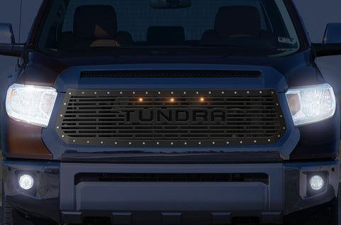 1 Piece Steel Grille for Toyota Tundra 2014-2017 - TUNDRA w/ 3 AMBER RAPTOR LIGHTS