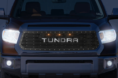 1 Piece Steel Grille for Toyota Tundra 2014-2017 - TUNDRA w/ STAINLESS STEEL UNDERLAY and 3 AMBER RAPTOR LIGHTS