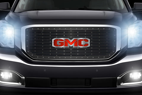 1 Piece Steel Grille for GMC Yukon Denali 2015-2020 -GMC Red Underlay/Stainless Overlay