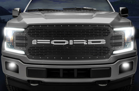 1 Piece Steel Grille for Ford F150 2018-2020 - FORD with XLite (LED Underlay)