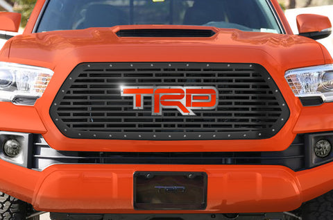 1 Piece Steel Grille for Toyota Tacoma 2016-2017 - TRD WITH ACRYLIC INFERNO UNDERLAY