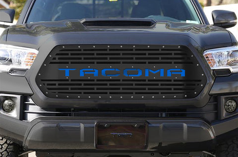 1 Piece Steel Grille for Toyota Tacoma 2016-2017 - TACOMA V2 w/ BLUE ACRYLIC UNDERLAY