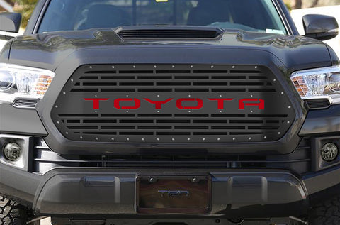 1 Piece Steel Grille for Toyota Tacoma 2016-2017 - TOYOTA V3 w/ RED ACRYLIC UNDERLAY