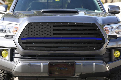 1 Piece Steel Grille for Toyota Tacoma 2016-2017 - AMERICAN FLAG WITH ACRYLIC UNDERLAY