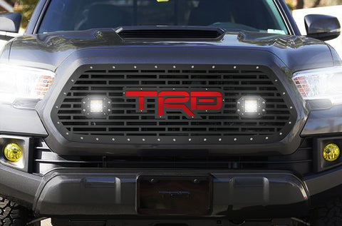 1 Piece Steel Grille for Toyota Tacoma 2016-2017 - TRD + LED Light Pods + Red Acrylic