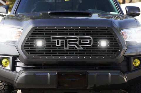 1 Piece Steel Grille for Toyota Tacoma 2016-2017 - TRD + LED Light Pods with SS Accent