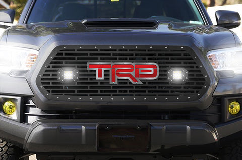 1 Piece Steel Grille for Toyota Tacoma 2016-2017 - TRD + LED Light Pods with Red + SS Accent