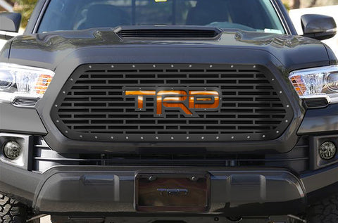 1 Piece Steel Grille for Toyota Tacoma 2016-2017 - TRD w/ Amber Mirrored Acrylic UL