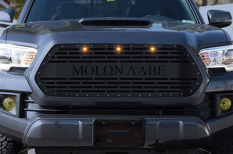 1 Piece Steel Grille for Toyota Tacoma 2016-2017 - MOLON LABE w/ 3 AMBER RAPTOR LIGHTS