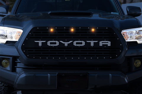 1 Piece LED X-Lite Steel Grille for Toyota Tacoma 2016-2017 - TOYOTA V3 WITH 3 AMBER RAPTOR LIGHTS