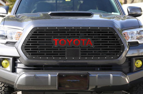 1 Piece Steel Pro Style Grille for Toyota Tacoma 2018-2020 - TOYOTA V1 with RED ACRYLIC UNDERLAY