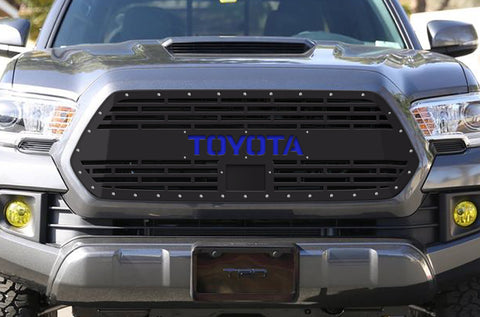 1 Piece Steel Pro Style Grille for Toyota Tacoma 2018-2020 - TOYOTA V2 with BLUE ACRYLIC UNDERLAY
