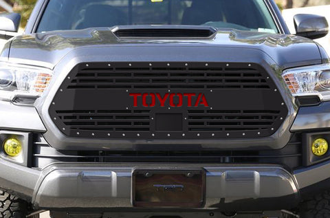 1 Piece Steel Pro Style Grille for Toyota Tacoma 2018-2020 - TOYOTA V2 with RED ACRYLIC UNDERLAY