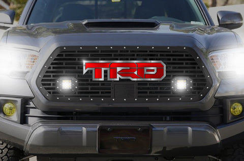 1 Piece Steel Pro Style Grille for Toyota Tacoma 2018-2020 - TRD w/ Red + SS Accent and 2 LED Pods