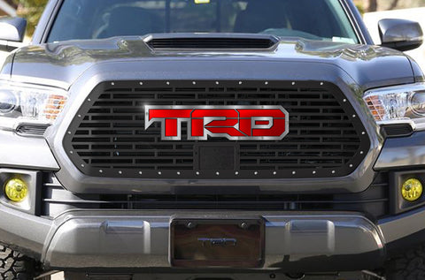 1 Piece Steel Pro Style Grille for Toyota Tacoma 2018-2020 - TRD w/ Red and Stainless Steel Accent