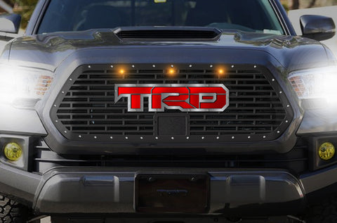1 Piece Steel Pro Style Grille for Toyota Tacoma 2018-2020 - TRD w/ Red + SS Accent and 3 Amber Raptor Lights