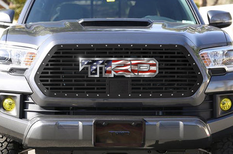 1 Piece Steel Pro Style Grille for Toyota Tacoma 2018-2020 - TRD w/ American Flag and Stainless Steel Accent
