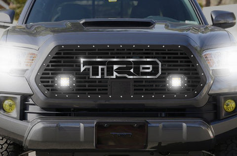 1 Piece Steel Pro Style Grille for Toyota Tacoma 2018-2020 - TRD w/ SS Overlay and 2 LED Pods