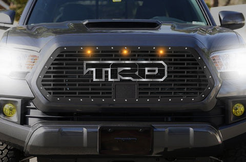 1 Piece Steel Pro Style Grille for Toyota Tacoma 2018-2020 - TRD w/ SS Overlay and 3 Amber Raptor Lights