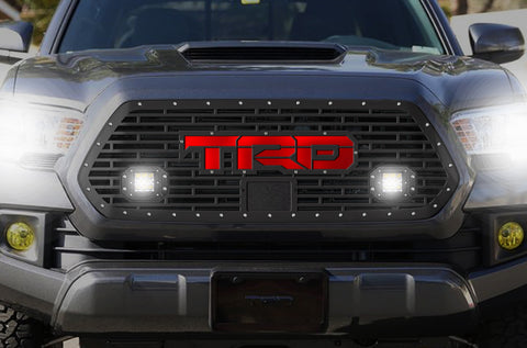 1 Piece Steel Pro Style Grille for Toyota Tacoma 2018-2020 - TRD w/ Red Acrylic UL and 2 LED Pods