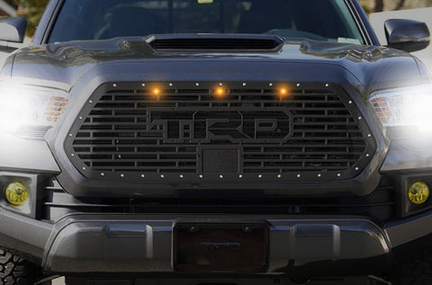1 Piece Steel Pro Style Grille for Toyota Tacoma 2018-2020 - TRD w/ Amber Raptor Lights
