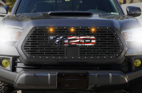 1 Piece Steel Pro Style Grille for Toyota Tacoma 2018-2020 - TRD w/ American Flag Underlay and 3 Amber Raptor Lights
