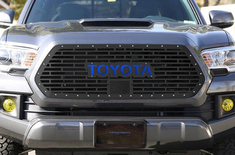 1 Piece Steel Pro Style Grille for Toyota Tacoma 2018-2020 - TOYOTA V1 with BLUE ACRYLIC UNDERLAY