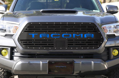 1 Piece Steel Pro Style Grille for Toyota Tacoma 2018-2020 - TACOMA V2 with BLUE ACRYLIC UNDERLAY