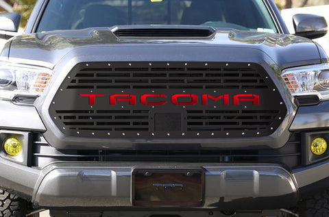 1 Piece Steel Pro Style Grille for Toyota Tacoma 2018-2020 - TACOMA V2 with RED ACRYLIC UNDERLAY
