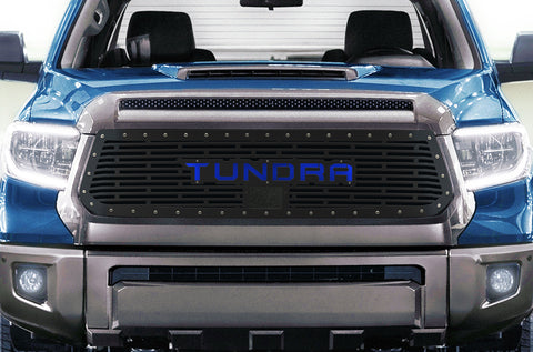 1 Piece Steel Grille for Toyota Tundra 2018-2020  Sport - TUNDRA V1 with BLUE ACRYLIC UNDERLAY